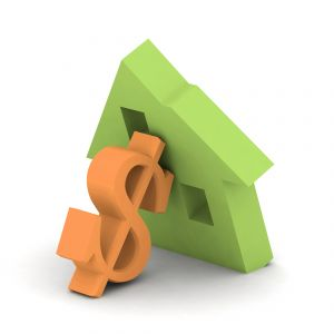 Orange green house dollar sign